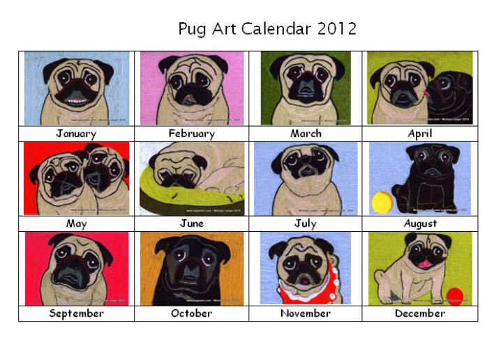Papaya Art Calendar Uk : Pug wall art