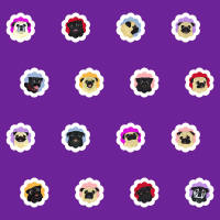 Groovy Pugs Fabric - Plumy Purple