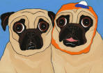 (A84) - Two Fawn Pugs ~ One Wearing a Barkclava Hat