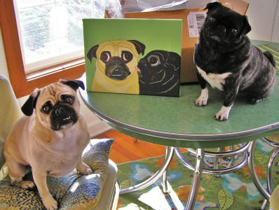 Stella and Gunther with their 11 x 14 canvas!